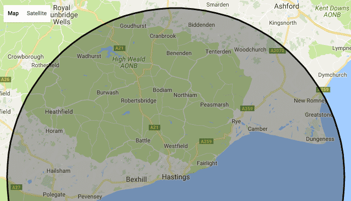 Dog Boarding East Sussex Kent Map